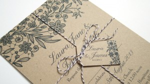 Recycled and gorgeously rustic invitations from Jann Bryan on Etsy.