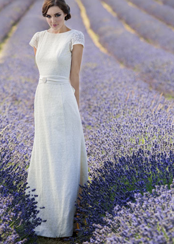 Ruston Wedding Dress by Sanyukta Shrestha: The Ruston features a column skirt with small puddle train. Made with soft cotton crochet lace, lined in hand-loomed organic fairtrade cotton.