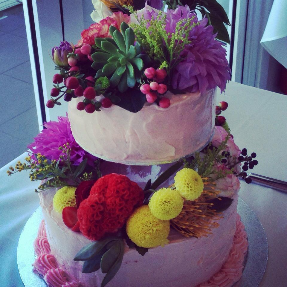 Wedding cake with real flowers, you can have as little or as much as you like! Have fun with it!