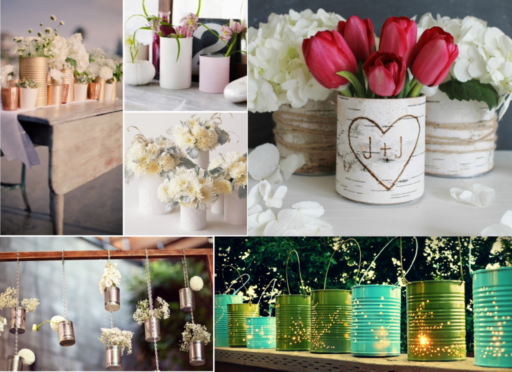Cans as wedding decorations