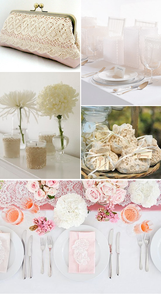 Lace as wedding decorations